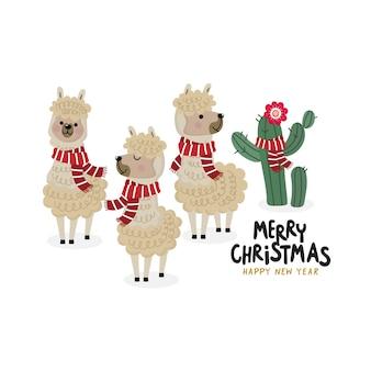 Auguri di buon natale con alpaca carino indossare sciarpa rossa
