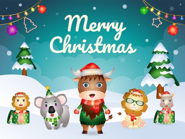Biglietto di auguri di buon natale con simpatici animali: bufalo, leone, rinoceronte e koala