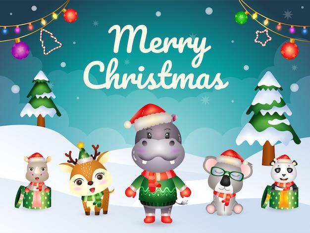 Biglietto di auguri di buon natale con simpatici animali: ippopotamo, koala, panda, cervo e rinoceronte