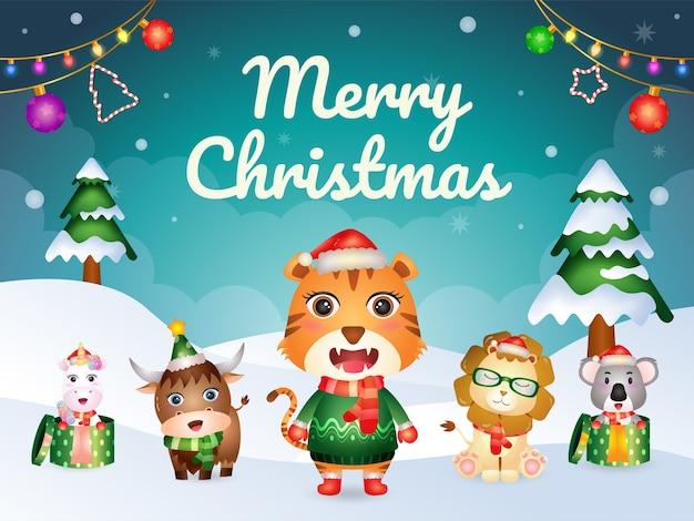 Biglietto di auguri di buon natale con simpatici animali: tigre, leone, bufalo, koala e unicorno
