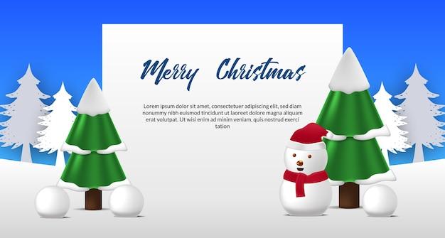 Cartolina d'auguri di buon natale con carina illustrazione del pupazzo di neve e abete pino sulla neve