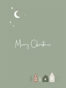 Cartolina d'auguri di buon natale con case scandinave carine e testo. modello vettoriale per capodanno, etichetta regalo, calendario, pianificatore, inviti, poster.