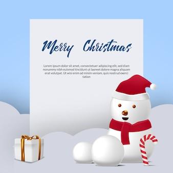 Auguri di buon natale con simpatico personaggio pupazzo di neve sulla neve