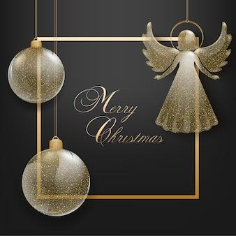Cartolina d'auguri di buon natale con cornice, palle di natale in vetro e angelo