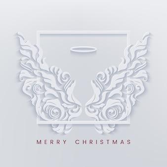 Auguri di buon natale con cornice e ali d'angelo bianche