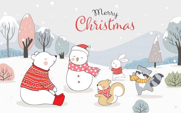 Cartolina d'auguri di buon natale con animali felici che giocano nella neve per l'inverno