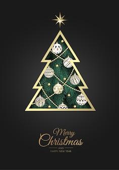 Cartolina d'auguri di buon natale con albero di capodanno.