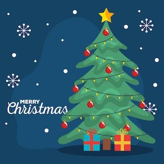 Buon natale biglietto di auguri con albero di pino con doni e fiocchi di neve