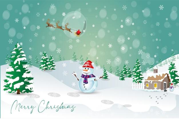 Biglietto di auguri di buon natale con pupazzo di neve