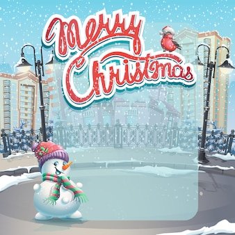 Cartolina d'auguri di buon natale con albero sulla città