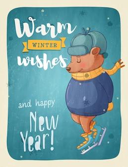 Cartoline d'auguri di buon natale design retrò. illustrazione vettoriale