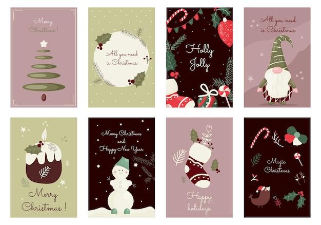 Cartoline di auguri di buon natale con simpatici elementi festivi collezione di modelli happy holidays