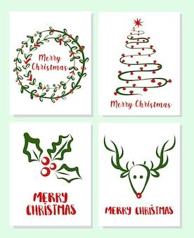 Set di biglietti di auguri di buon natale con simpatici elementi di albero di natale e cervi