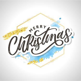 Auguri di buon natale. elementi di design disegnati a mano. scritto a mano moderno pennello lettering con cornice acquerello