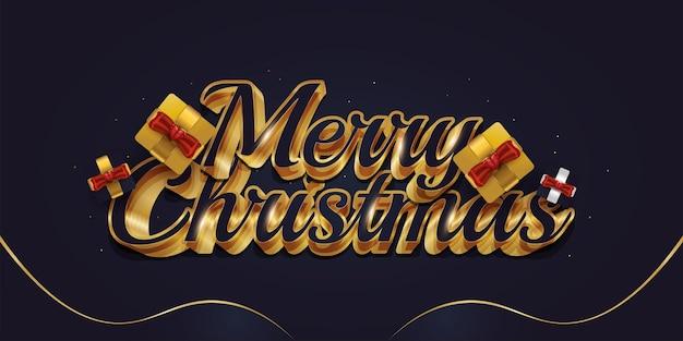 Testo di auguri di buon natale con confezione regalo e scritte 3d di lusso in blu e oro
