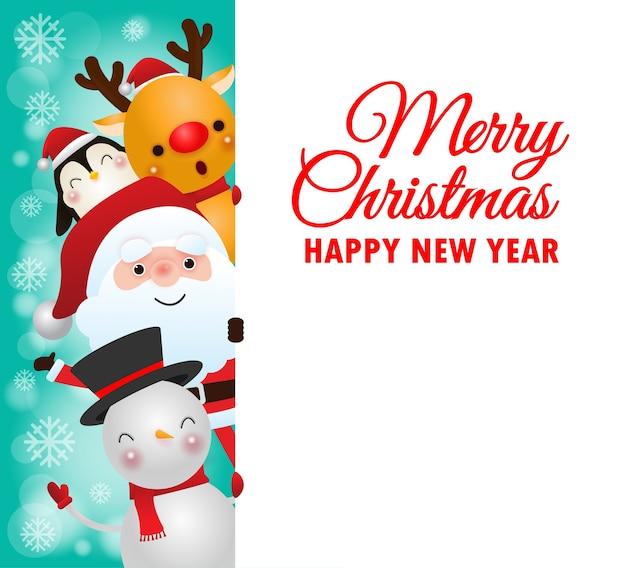 Auguri di buon natale con renne e pupazzo di neve, pinguino