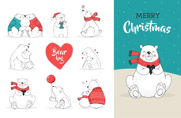 Auguri di buon natale con gli orsi. orso polare disegnato a mano, simpatico set di orsi, orsi madre e bambino, coppia di orsi