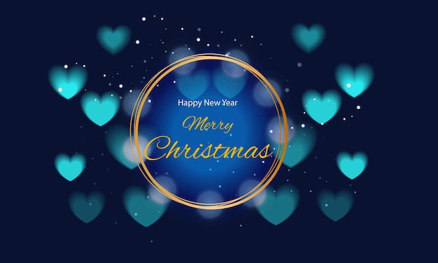 Auguri di buon natale con cornice dorata e cuori blu