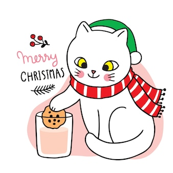 Buon natale gatto sveglio del fumetto di tiraggio della mano che mangia biscotti e latte.