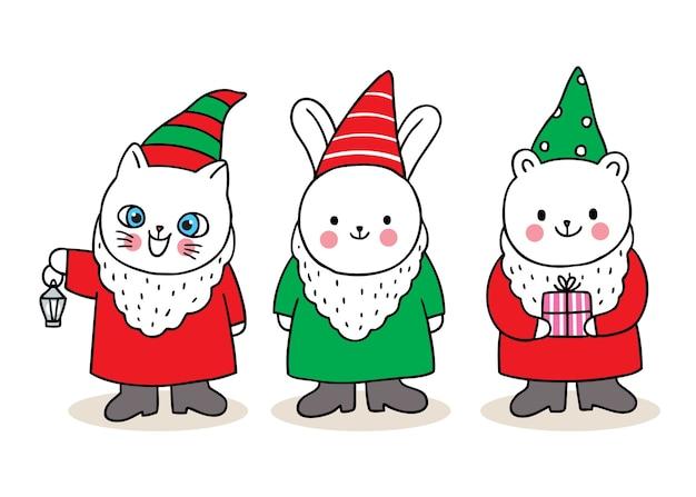Buon natale disegnare a mano simpatici cartoni animati gatti nani.