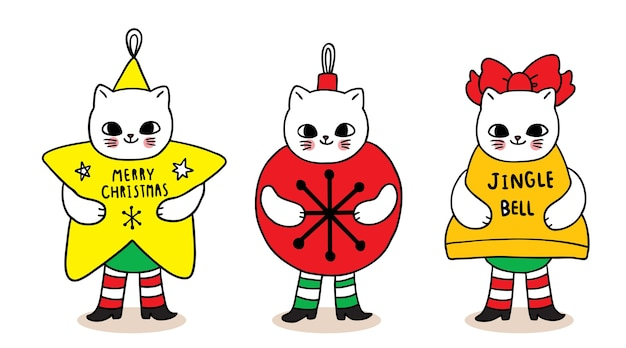 Buon natale mano disegnare cartoni animati simpatici gatti mascotte stella e palla e campana.