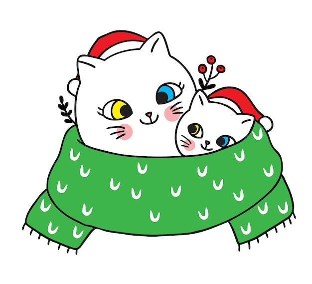 Buon natale disegnare a mano cartone animato carino mamma e bambino gatto in grande sciarpa verde.