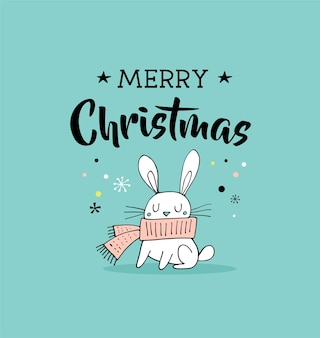 Buon natale disegnato a mano carino doodle, illustrazione e biglietti di auguri con il coniglietto.