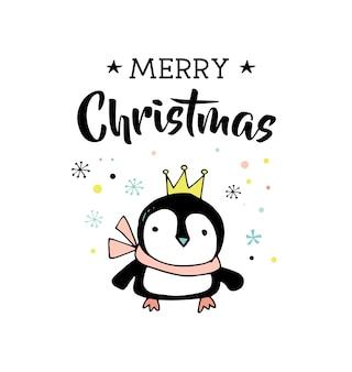 Buon natale disegnato a mano carino doodle, illustrazione e biglietti di auguri con il pinguino. lettering, tipografia