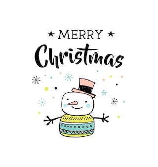 Buon natale disegnato a mano carino doodle, illustrazione e biglietti di auguri con pupazzo di neve. lettering, tipografia