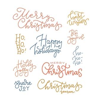 Buon natale disegnato a mano lettering set buone vacanze tipografia lineare raccolta vettore momoline...