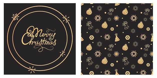 Buon natale scritte a mano. palla, campana, modello senza cuciture del fiocco di neve. sfondo vacanza, carta da regalo.