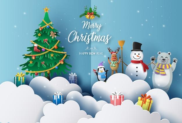 Concetto di buon natale e felice anno nuovo 2020 con pupazzo di neve, renne, orso e pinguino.