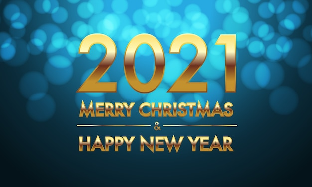 Buon natale e felice anno nuovo 2021 numero d'oro e testo su sfondo blu bokeh.