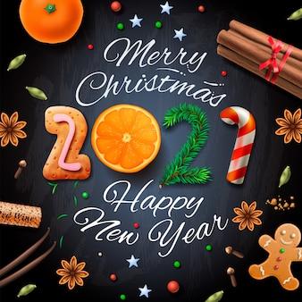 Buon natale, felice anno nuovo 2021, sfondo vintage con tipografia e spezie per la bevanda di natale vin brulè