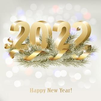 Buon natale e felice anno nuovo 2022. numeri 3d dorati con nastro d'oro e ramo di albero di natale. vettore