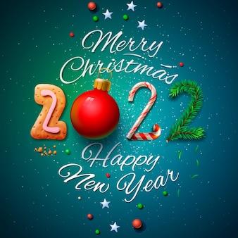 Cartolina d'auguri di buon natale e felice anno nuovo 2022 illustrazione vettoriale