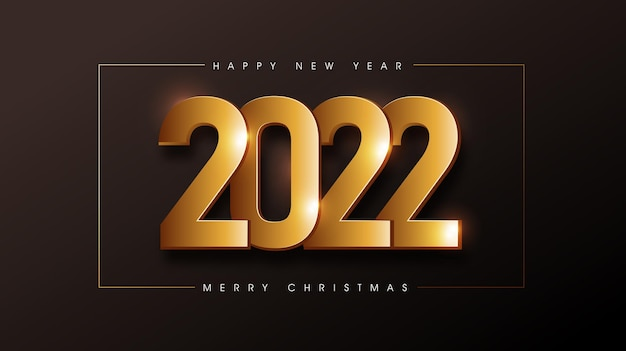 Buon natale e felice anno nuovo 2022 testo sfondo decorato con texture dorata
