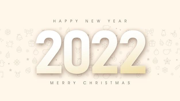 Buon natale e felice anno nuovo 2022 sfondo di progettazione di testo