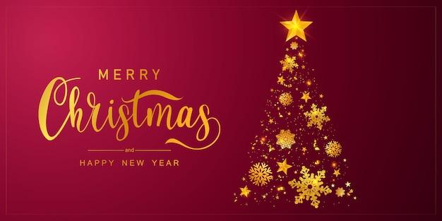 Buon natale e felice anno nuovo sfondo. modello di sfondo celebrazione con albero.