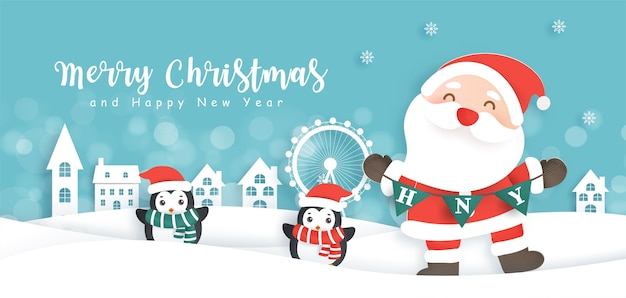 Buon natale e felice anno nuovo sfondo con babbo natale carino e un pinguino.