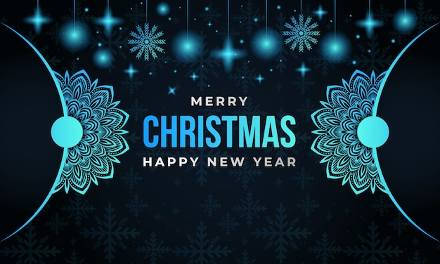Buon natale e felice anno nuovo sfondo con mandala