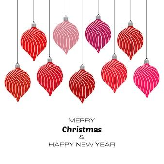 Buon natale e felice anno nuovo sfondo con palle di natale rosse. sfondo vettoriale per biglietti di auguri, inviti, manifesti festivi.