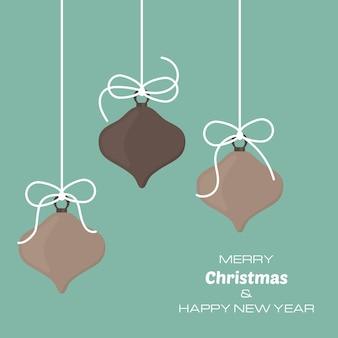 Buon natale e felice anno nuovo sfondo con tre palle di natale. sfondo vettoriale per biglietti di auguri, inviti, manifesti festivi.