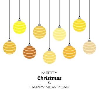 Buon natale e felice anno nuovo sfondo con palle di natale gialle. sfondo vettoriale per biglietti di auguri, inviti, manifesti festivi.