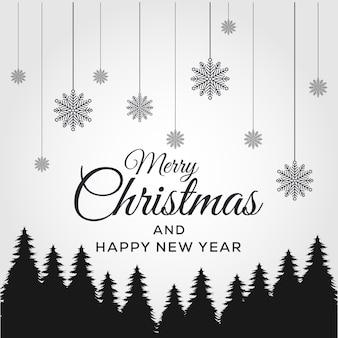 Buon natale e felice anno nuovo. sfondo natale design di pino nero.