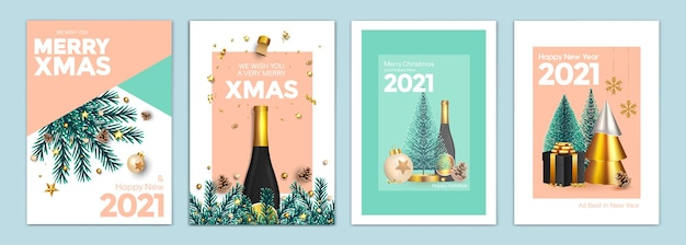 Sfondi di buon natale e felice anno nuovo, biglietti di auguri, poster, copertine per le vacanze. progettare con realistici capodanno e ornamenti natalizi. illustrazione vettoriale modelli festivi di natale