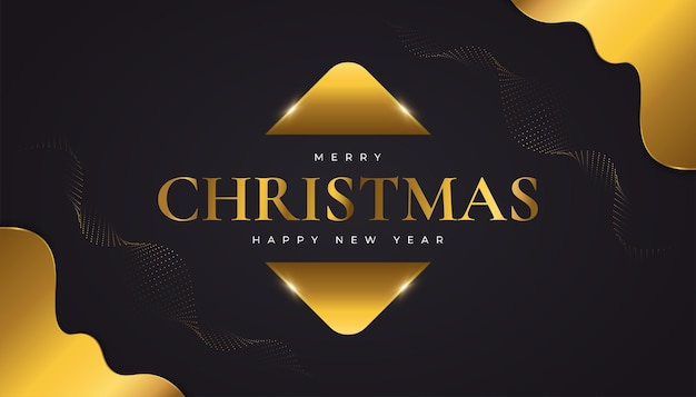 Buon natale e felice anno nuovo banner o poster. elegante biglietto di auguri di natale in nero e oro