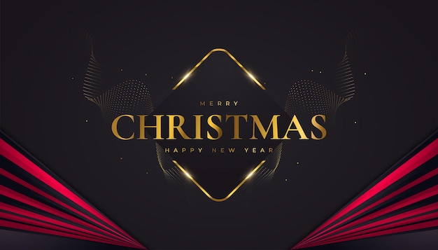 Buon natale e felice anno nuovo banner o poster. elegante biglietto di auguri di natale in nero, rosso e oro