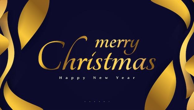 Buon natale e felice anno nuovo banner o poster. elegante biglietto di auguri di natale in blu e oro