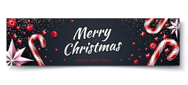 Banner di buon natale e felice anno nuovo fiocco di neve realistico stelle bastoncini di zucchero di natale sul nero